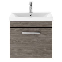 Nuie Athena 500mm Wall Hung Cabinet & Thin-Edge Basin - Brown Grey Avola