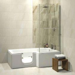 Trojan Bathe Easy Solarna 1700mm x 850mm L Shaped Easy Access Shower Bath - Left Hand