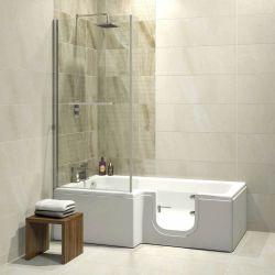 Trojan Bathe Easy Solarna 1700mm x 850mm L Shaped Easy Access Shower Bath - Right Hand
