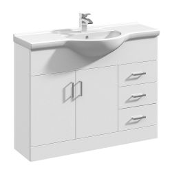 Premier Mayford 1050mm Basin Unit With Curved Bowl - Gloss White