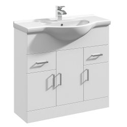 Premier Mayford 850mm Basin Unit With Curved Bowl - Gloss White