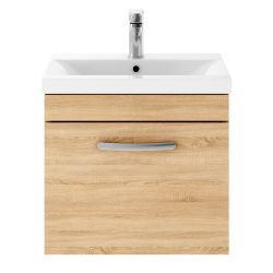 Nuie Athena 500mm Wall Hung Cabinet & Thin-Edge Basin - Natural Oak