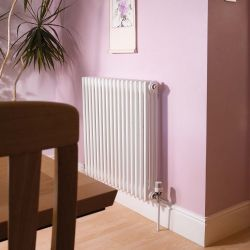 Apollo Roma Horizontal Steel 2 Column Radiator 600mm x 400mm - White Aluminium Gloss