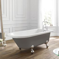 April Bentham Traditional Freestanding Bath 1700mm x 750mm - Dove Grey