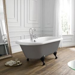 April Skipton Traditional Freestanding Bath 1700mm x 750mm - Dove Grey