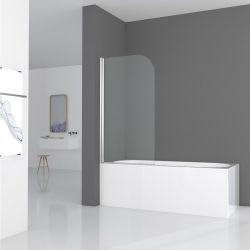 Aqua I 6mm Silver Curved Shower Screen 1400mm x 800mm