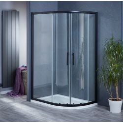 1200mm x 800mm Double Sliding Door Black Offset Quadrant Shower Enclosure and Shower Tray