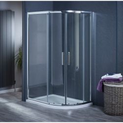 900mm x 760mm Double Door Offset Quadrant Shower Enclosure and Shower Tray