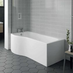 Aqua i 1500mm x 850mm P Shaped Bath With Bath Screen
