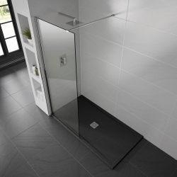 Black Aqualavo Anti-Slip 1000mm x 800mm Slate Effect Shower Tray