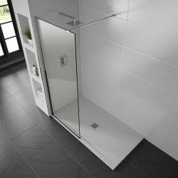 White Aqualavo Anti-Slip 1000mm x 800mm Slate Effect Shower Tray
