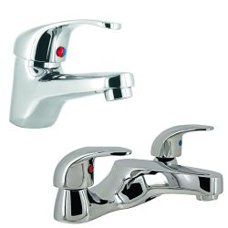 Base Contemporary Mono Basin Mixer & Bath Filler Set