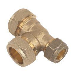 Brass Compression Tee 28mm x 15mm  x 28mm