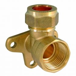 Brass Compression Wall Plate Elbow 15mm x 1/2""