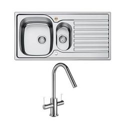 Bristan Inox Easy Fit Sink Top 1.5 Bowl Universal 1000mm with Cashew Tap