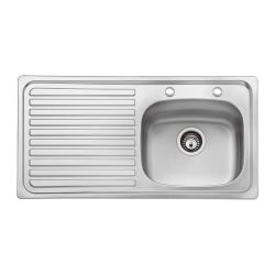 Bristan Inox Sink Top 2 Tap Hole 1 Bowl Round Steel 930mm Left Hand