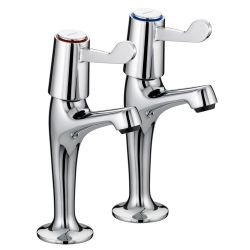 "Bristan Lever High Neck Pillar Taps with 3"" Levers - VAL HNK C CD"