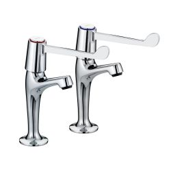 "Bristan Lever High Neck Pillar Taps with 6"" Levers - VAL HNK C 6 CD"