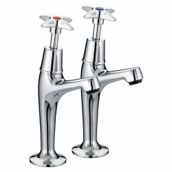 Bristan X-Head High Neck Pillar Taps - VAX HNK C