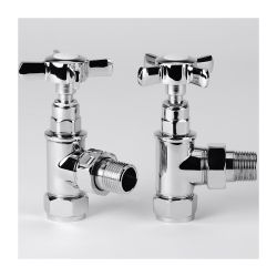 BTL Eterno Crosshead Angled Radiator Valves - Chrome