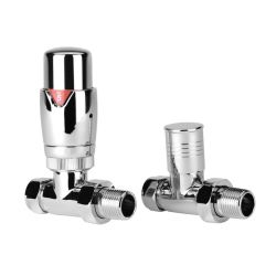 BTL Pair of Straight Thermostatic Radiator Valves - Chrome