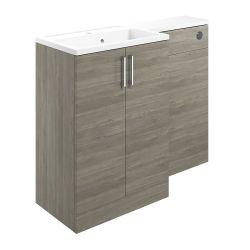 BTL Volta 1100mm Vanity, Basin & WC Pack (LH) - Grey Nordic Wood