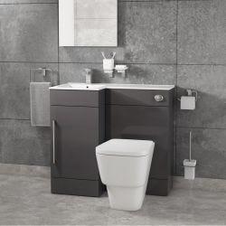 Cassellie Maze Compact Anthracite L Shaped Basin Unit & Toilet Suite