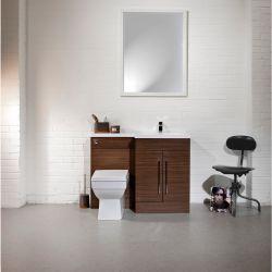 Cassellie Maze Walnut L Shaped Basin Unit & Toilet Suite