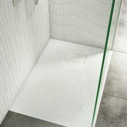 Cassellie White Anti Slip Rectangular Stone Effect Shower Tray 1000mm x 700mm