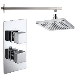 Cubex Twin Square Concealed Thermostatic Shower Valve with Wall Arm and Fixed Shower Head