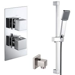 Cubex Twin Square Concealed Thermostatic Shower Valve with Outlet Elbow and Sliding Rail Kit