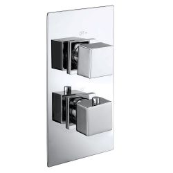 Cubex Twin Square Concealed Thermostatic Shower Valve with Single Outlet