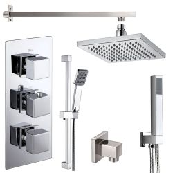 Cubex Triple Square Concealed Thermostatic Shower Valve with Outlet Elbow, Sliding Rail Kit, Wall Arm, Fixed Head and Wall Mounted Shower Kit with Outlet