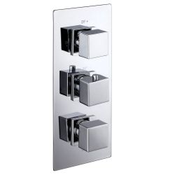 Cubex Triple Square Concealed Thermostatic Shower Valve with Twin Outlet