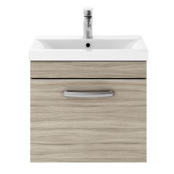 Nuie Athena 500mm Wall Hung Cabinet & Thin-Edge Basin - Driftwood