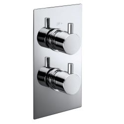Electra Twin Round Concealed Thermostatic Shower Valve with Single Outlet