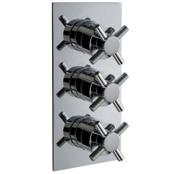 Krosse Triple Cross Top Concealed Thermostatic Shower Valve with Twin Outlet