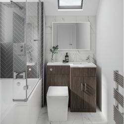 Elation Compact Combination 920mm L Shaped Basin Vanity Unit with WC Right Hand - Bodega Grey