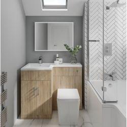 Elation Combination 1070mm L Shaped Basin Vanity Unit with WC Left Hand - Bardolino Oak