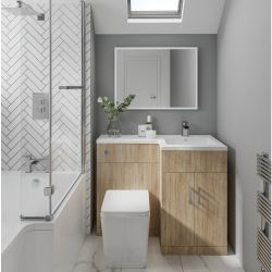 Elation Combination 1070mm L Shaped Basin Vanity Unit with WC Right Hand - Bardolino Oak