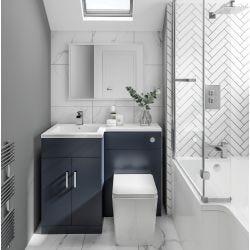 Elation Combination 1070mm L Shaped Basin Vanity Unit with WC Left Hand - Indigo Matt