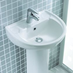Lecico Atlas 452mm x 383mm 1 Tap Hole Basin and Pedestal
