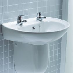 Lecico Atlas 452mm x 383mm 2 Tap Hole Basin and Pedestal