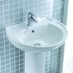 Lecico Atlas 500mm x 410mm 1 Tap Hole Basin and Pedestal