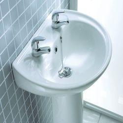 Lecico Atlas 500mm x 410mm 2 Tap Hole Basin and Pedestal