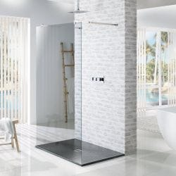 MX Minerals Ash Grey Square Slate Effect Slim Shower Tray 900mm x 900mm