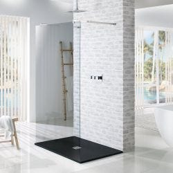 MX Minerals Jet Black Square Slate Effect Slim Shower Tray 900mm x 900mm