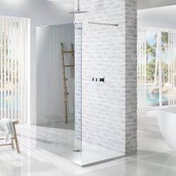 MX Minerals Ice White Square Slate Effect Slim Shower Tray 900mm x 900mm