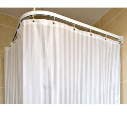 Contour White Satin Stripe Shower Curtain 1000mm x 1000mm