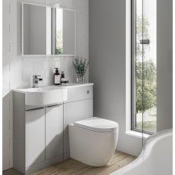 Elation Combination 1010mm P Shaped Basin Vanity Unit with WC Left Hand - Pearl Grey Matt